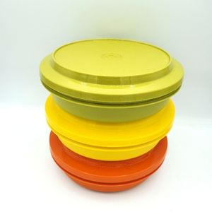 Tupperware Vintage Set Bowls Lids Harvest 1206